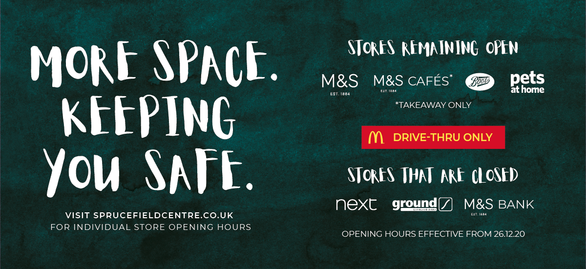 M&S, Boots, Pets at Home Remain Open. McDonalds open for Drive-Thru Only. Next, Ground and M&S Bank Remain Closed.