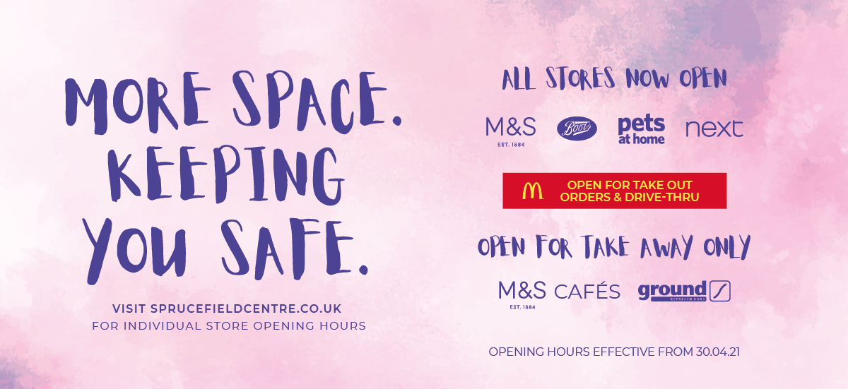 All Stores Now Open. Ground, M&S Cafe's and McDonalds open for take away or Drive-Thru only.